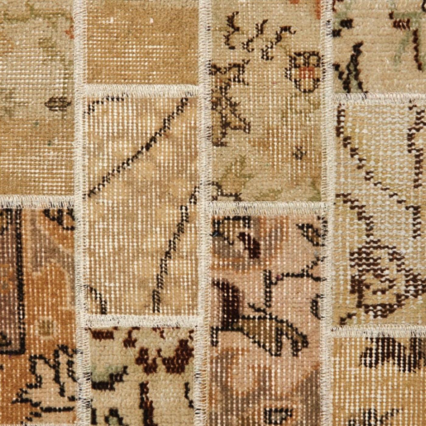 Patch vintage tapijt beige